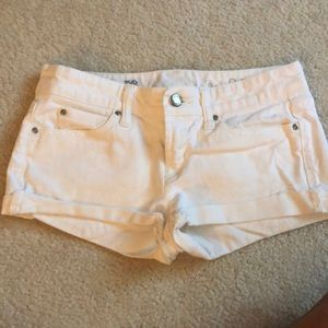 White jean shorts low rise